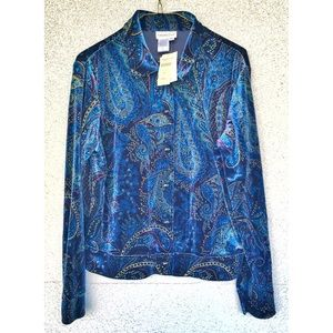 NWT - Coldwater Creek Paisley Velvet Button Top